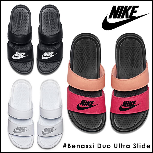 add82264b498 Nike Benassi Duo Ultra Slide (Crimson Tint Black White) Womens Nike  Lifestyle .