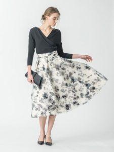 CELFORD セルフォード モノトーン花柄ボリュームスカート